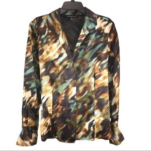 Jones NY Silk Camouflage Print Blouse